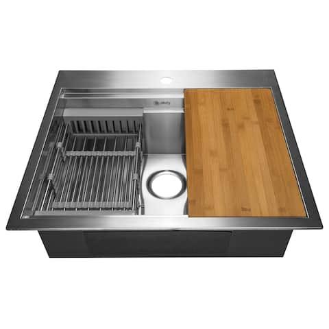 "AKDY KS0233 25"" x 22"" x 9"" Top Mount Handmade Stainless Steel Single Bowl Kitchen Sink - Silver"