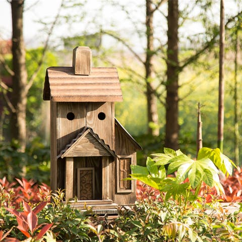 "Glitzhome 24.02""H Rustic Wood Natural Birdhouse"