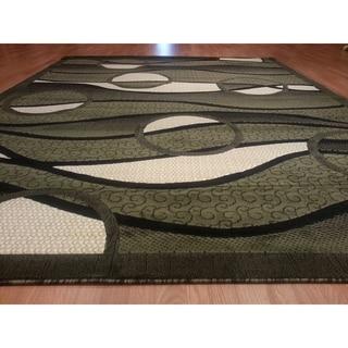 "Rug Tycoon Abstract Modern Contemporary Green Rug - 2'0""x7'2""rectangular runner"