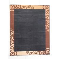 "Rug Tycoon Abstract Modern Contemporary Black Rug - 7'11""x9'10""rectangular"