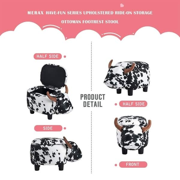 Outstanding Shop Merax Upholstered Ride On Storage Animal Cow Ottoman Short Links Chair Design For Home Short Linksinfo