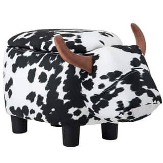 Merax Upholstered Ride-on Storage Animal Cow Ottoman Footrest Stool