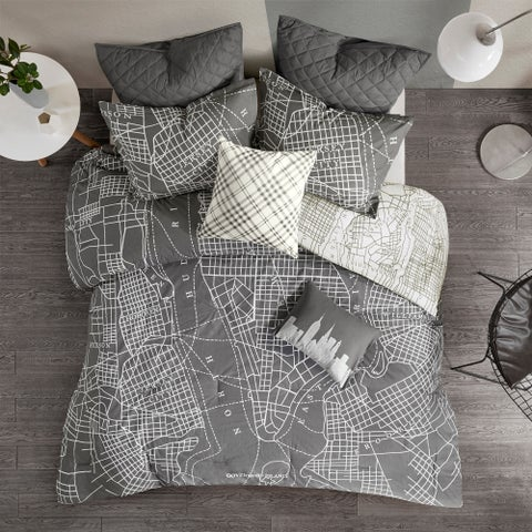 Urban Habitat Hudson Charcoal Reversible 7-Piece Printed Cotton Comforter Set