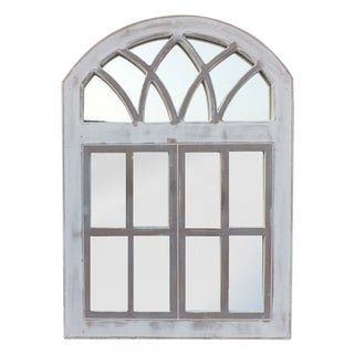 The Urban Port Wooden Framed Window Wall Panel with Mirror