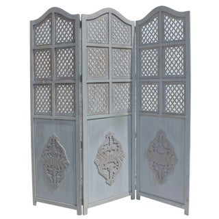 Wooden 3 Panel Foldable Room Divider, Blue