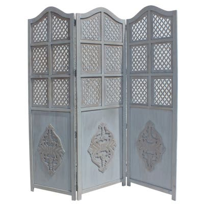 Three Panel Wooden Room Divider with Traditional Carvings and Cutouts, Blue