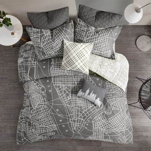 Urban Habitat Hudson Charcoal Reversible 7-Piece Printed Cotton Duvet Cover Set