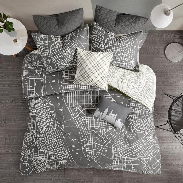 Urban Habitat Hudson Charcoal Reversible 7 Piece Printed Cotton Duvet Cover Set