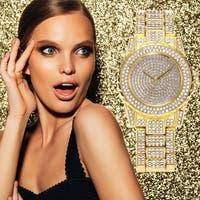 Luxury Design Full of Shiny Rhinestone Quartz Movement Wrist Watches Woman