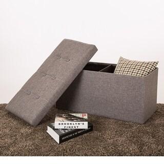 Glitzhome Cuboid Linen Foldable Storage Ottoman Bench w/Padded Seat