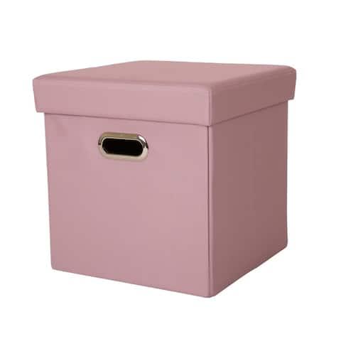 Glitzhome Cube Oxford Foldable Storage Ottoman w/Padded Seat