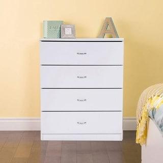 Furniture Wood Storage NightStand Dresser 4-Drawer Chest 2 Colors