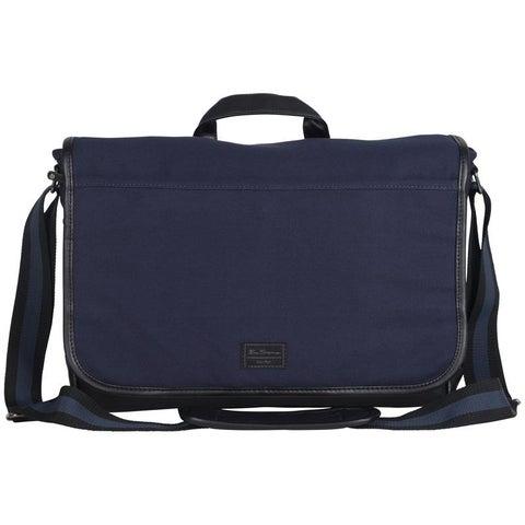 Ben Sherman Cotton Canvas Flapover Casual Travel Messenger / Tablet Bag