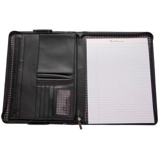 Ben Sherman Faux Leather Zip Around Lefty / Righty Padfolio Business Writing Pad