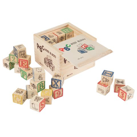 ABC and 123 Wooden Blocks- Alphabet Letters and Numbers Learning Block Set-Educational STEM by Hey! Play!