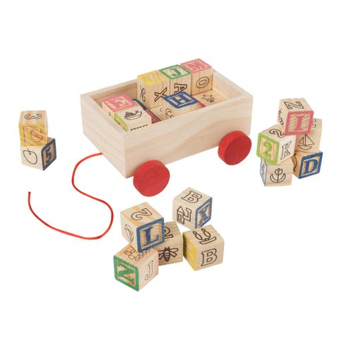 ABC and 123 Wooden Blocks with Pull Cart Storage Box- Alphabet Letters and Numbers Educational STEM Hey! Play!