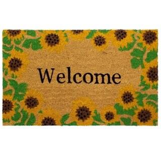 Storm Stopper Welcome Sunflowers 18x28 in. Indoor/Outdoor Coir Mat