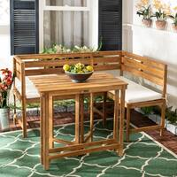 Safavieh Outdoor Living Wilton 3 Pc Balcony Corner Lounge Set - Teak Brown / Beige