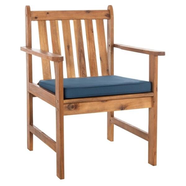 Safavieh Outdoor Living Burbank 4 Pc Outdoor Set - Teak Brown / Navy