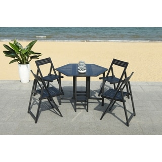 Safavieh Outdoor Living Kerman Table And 4 Chairs - Black