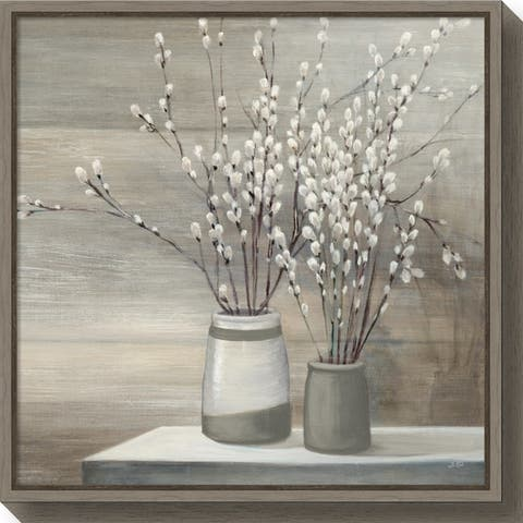 Canvas Art Framed 'Willow Still Life Gray Pots' by Julia Purinton - Black