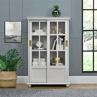 Novogratz Magnolia Hill Grey Bookcase with Sliding Glass Doors