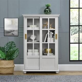 Novogratz Magnolia Hill Grey Bookcase with Sliding Glass Doors