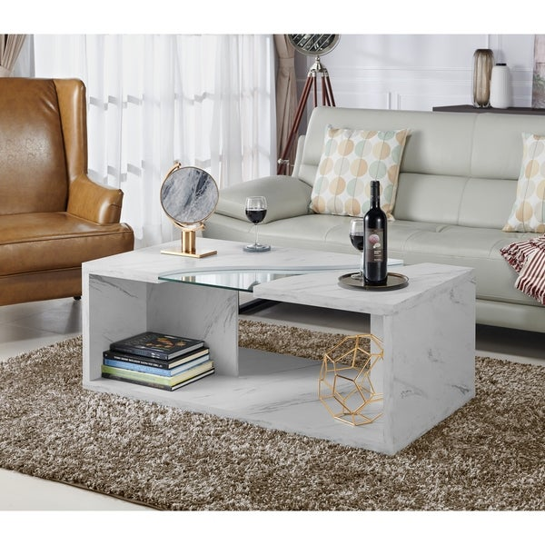 Faux White Marble Coffee Table Set: Shop Furniture Of America Anastasia Modern White Faux