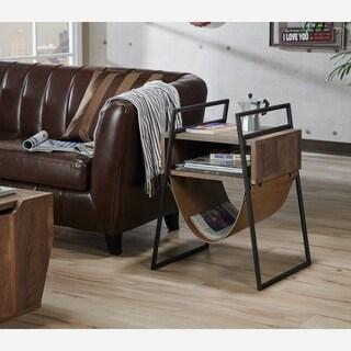 Furniture of America Laul Rustic Oak Open Shelf End Table