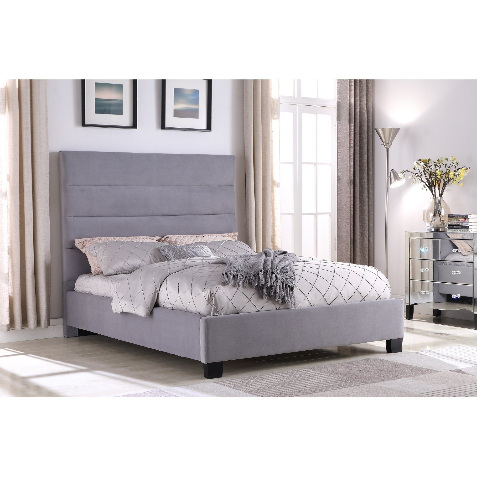 Best Master Furniture Grey Upholstered Platform Bed On Sale Overstock 22814724 Queen