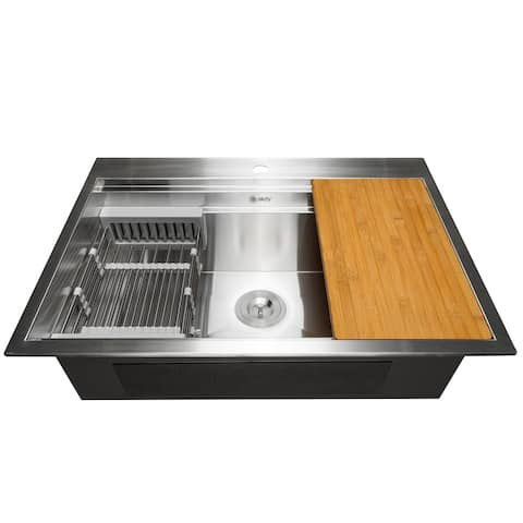 "AKDY KS0236 33"" x 22"" x 9"" Top Mount Handmade Stainless Steel Single Bowl Kitchen Sink - Silver"
