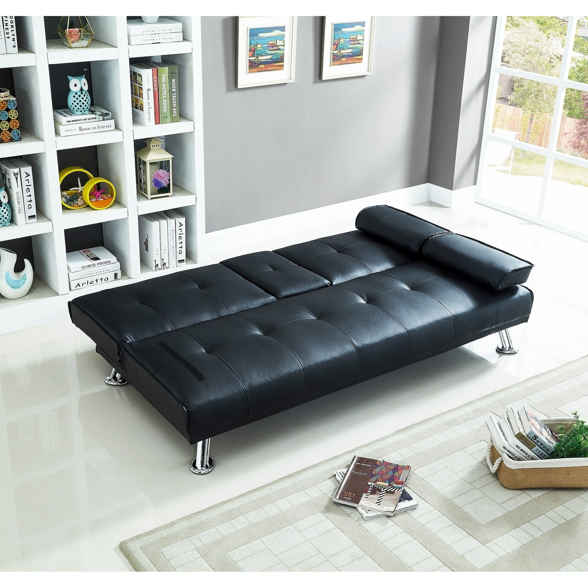 Amazing Faux Leather Sofa Bed With Cup Holder Ibusinesslaw Wood Chair Design Ideas Ibusinesslaworg