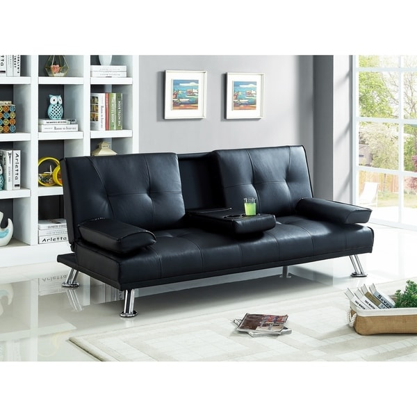 Faux Leather Sofa Bed With Cup Holder