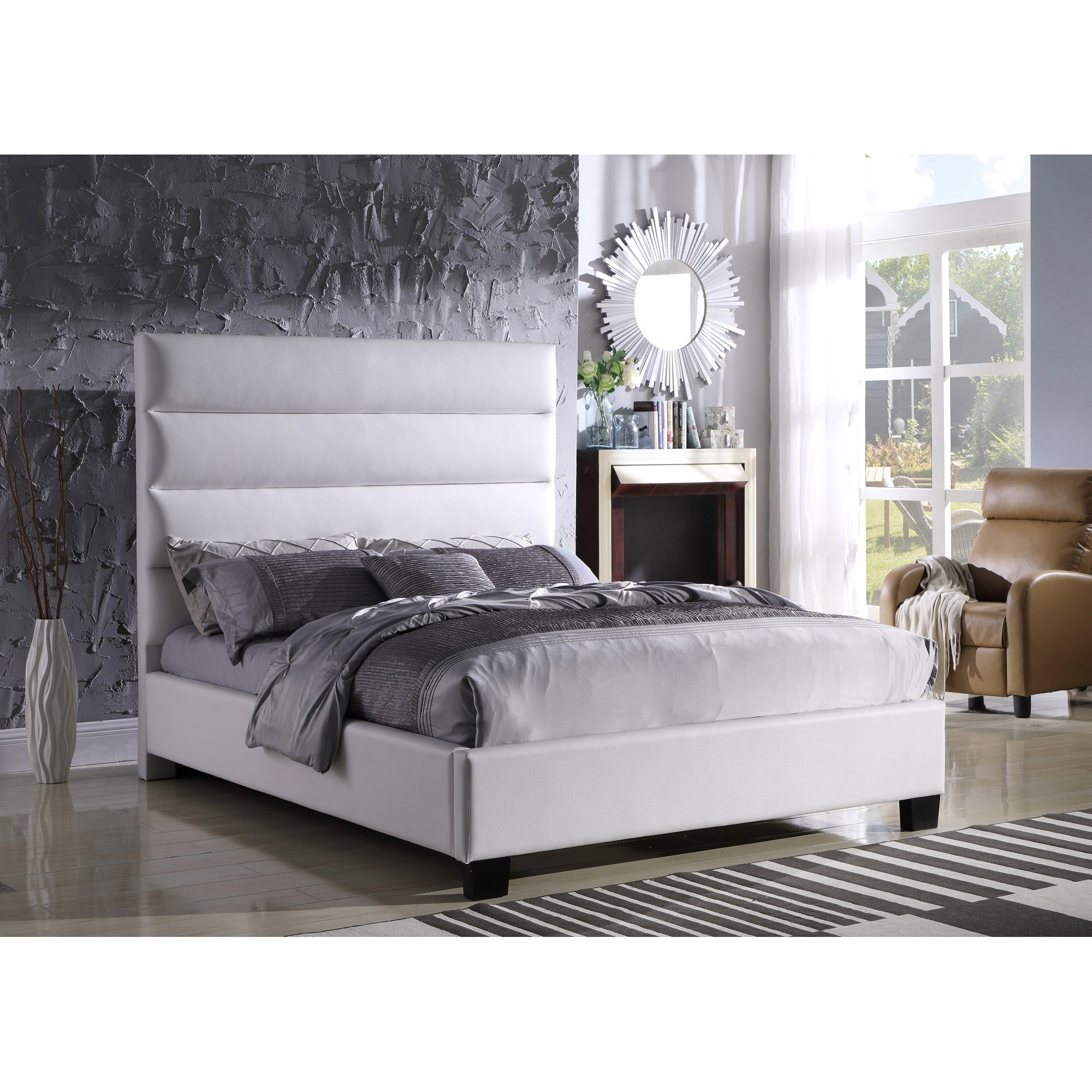 new photos 0824b 3c9a2 Best Master Furniture White Upholstered Platform Bed