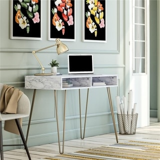 Novogratz Athena White Marble Computer Desk with Storage