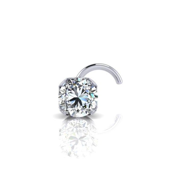 9c5d7225f Shop 0.015ct 1.5mm Diamond Stud Nose Ring In 14K White Gold - On ...