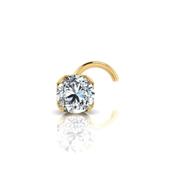14d5ef5eb Shop 0.03ct 2mm Diamond Stud Nose Ring In 14K Yellow Gold - On Sale ...