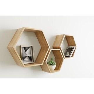 Universal Expert Abacus Hexagon Shelves, Set of 3, Modern Oak