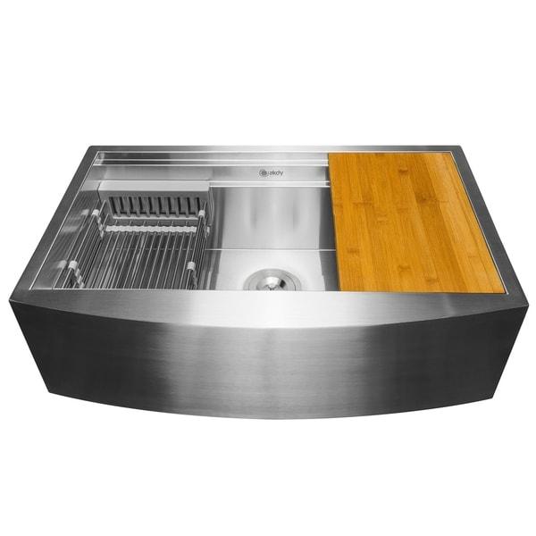 "AKDY KS0239 33"" x 22"" x 9"" Apron Farmhouse Handmade Stainless Steel Single Bowl Kitchen Sink - Silver. Opens flyout."