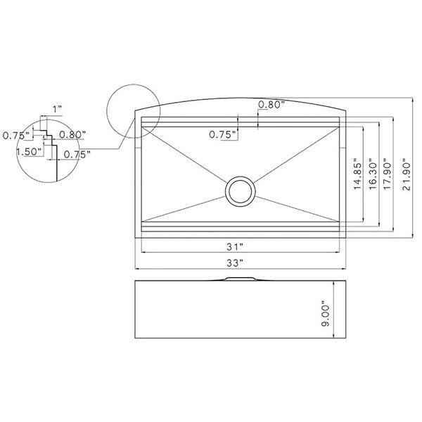 "AKDY KS0239 33"" x 22"" x 9"" Apron Farmhouse Handmade Stainless Steel Single Bowl Kitchen Sink - Silver"