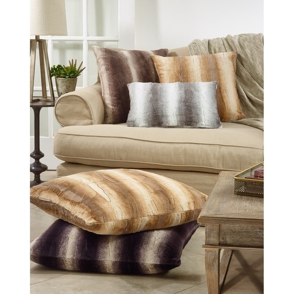 Faux Fur Decorative Poly Filled Throw Pillow