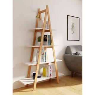 Universal Expert Abacus Ladder Bookshelf, Modern Oak and White