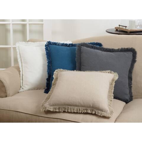 Fringe Trimmed Linen Down Filled Throw Pillow