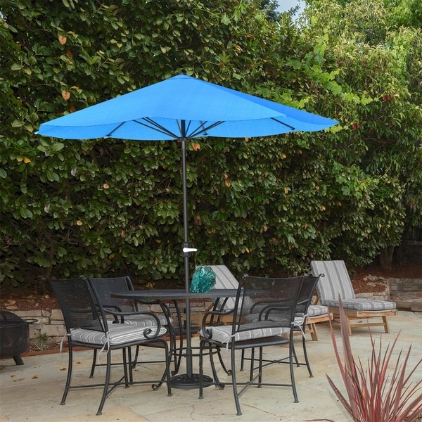 9ft Patio Umbrella Outdoor Shade with Easy Crank by Pure Garden, Base Not Included. Opens flyout.