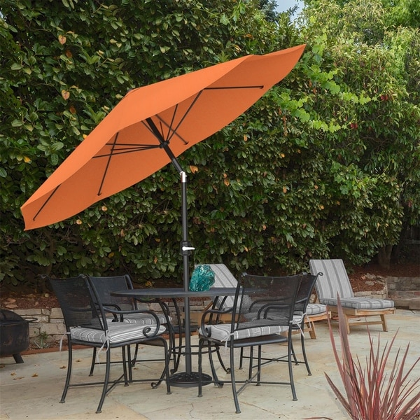 Patio Umbrella With Auto Tilt Easy Crank Outdoor Table 10 Ft By Pure Garden