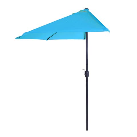 Half Round Patio Umbrella with Easy Crank- Small Space Outdoor Shade Umbrella 9 Foot by Pure Garden