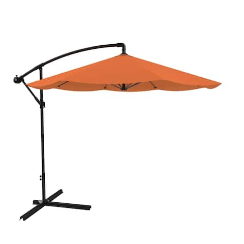 Patio Umbrella, Cantilever Hanging Outdoor Shade- Easy Crank and Base for Table 10 Ft by Pure Garden