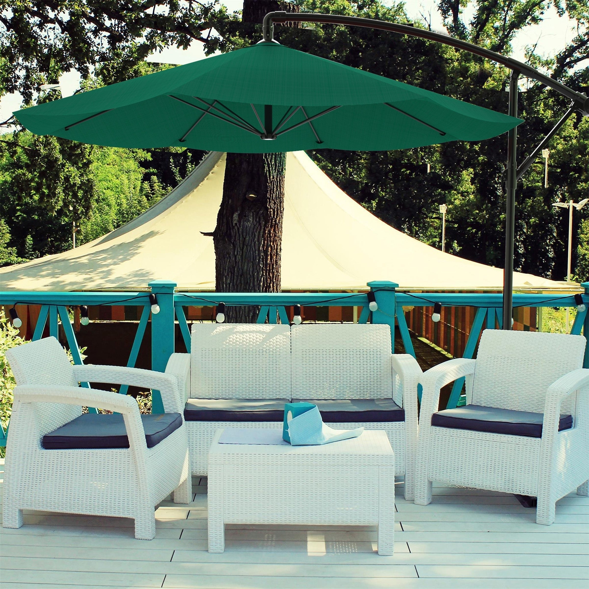 Strange Patio Umbrella Cantilever Hanging Outdoor Shade Easy Crank And Base For Table 10 Ft By Pure Garden Download Free Architecture Designs Ferenbritishbridgeorg