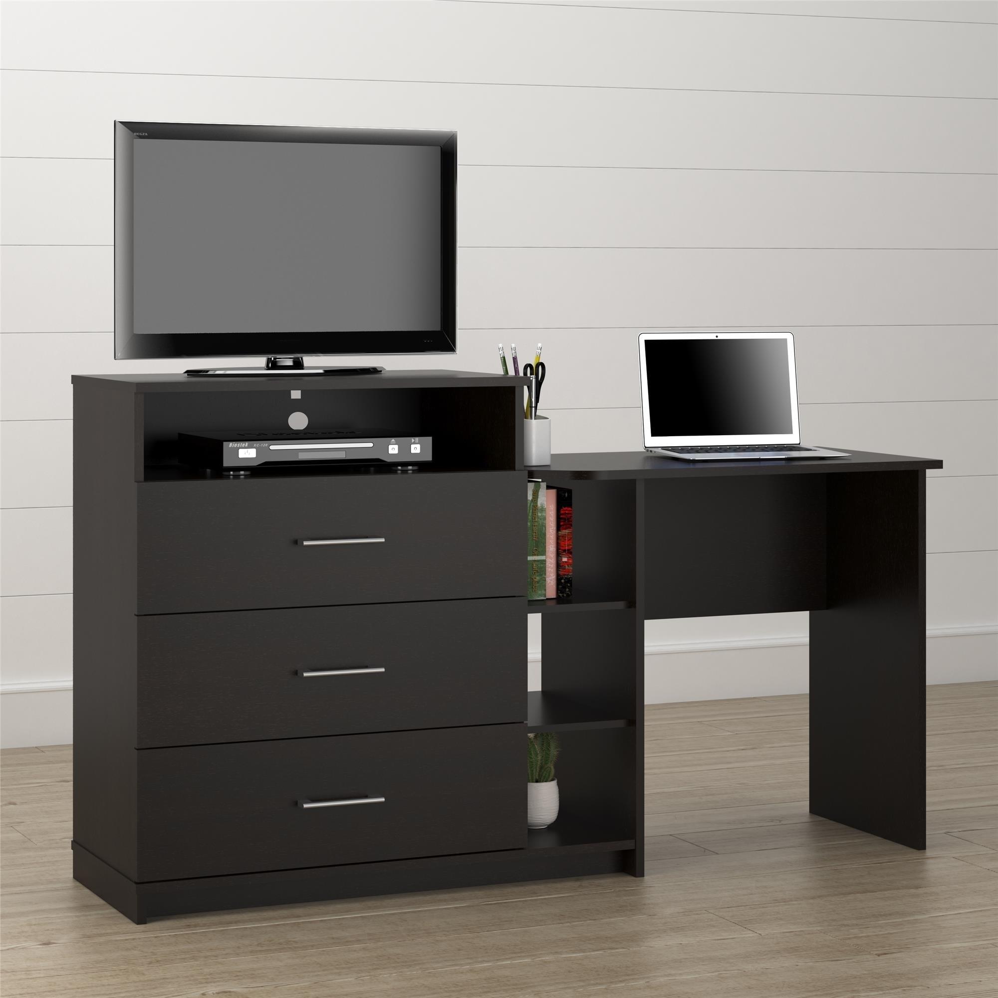 Strange Avenue Greene Lindell Espresso 3 In 1 Media Dresser And Desk Combo Home Remodeling Inspirations Cosmcuboardxyz