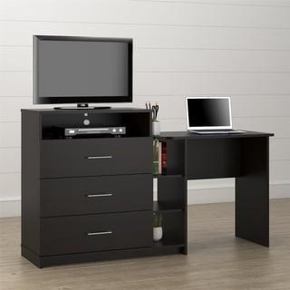 Porch & Den Alyssa Espresso 3-in-1 Media Dresser and Desk Combo